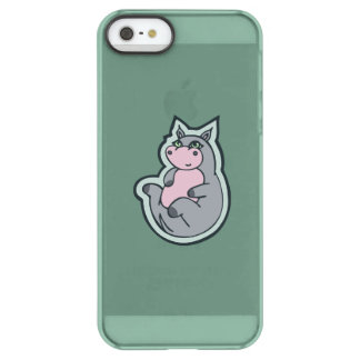 Happy Young Gray Hippo Teal Drawing Design Permafrost® iPhone SE/5/5s Case