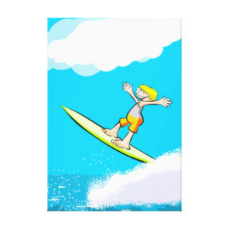 Happy young surf to obtain its spectacular feat canvas print