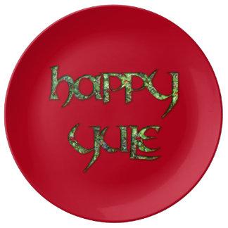 Happy Yule Porcelain Party Plate Porcelain Plates