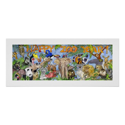 Happy Zoo Year Animals Childrens Wall Art Print