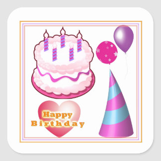 HappyBIRTHDAY Cake Balloon Decorations Square Sticker