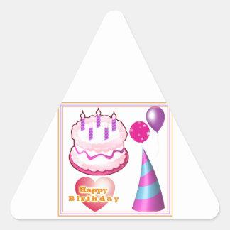 HappyBIRTHDAY Cake Balloon Decorations Triangle Sticker