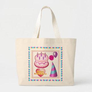 HappyBIRTHDAY Cake Balloon n Text Jumbo Tote Bag