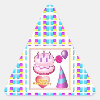 HappyBIRTHDAY Cake Balloon n Text Triangle Sticker