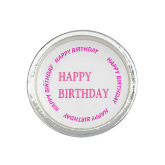 happyBIRTHDAY HAPPY birthday Pink Circle Round Photo Ring