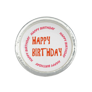 happyBIRTHDAY HAPPY birthday Pink Circle Round Ring