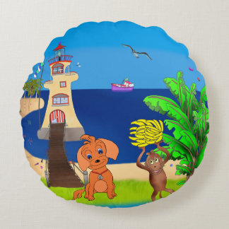 Happy's Lighthouse by The Happy Juul Company Round Pillow