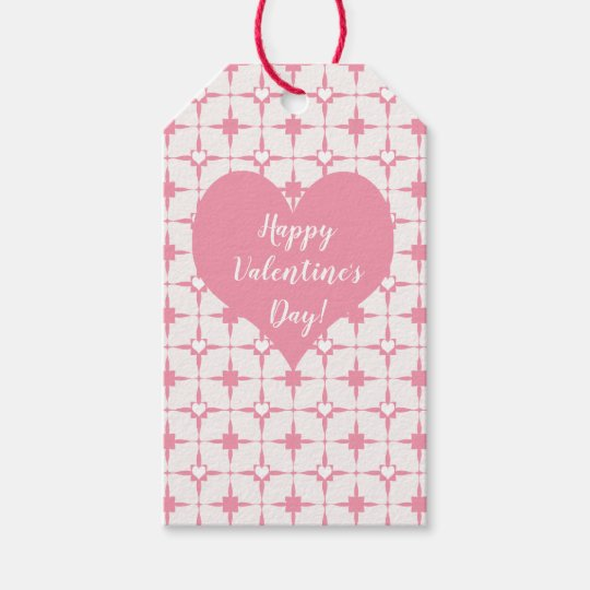 HappyValentine's Day Pink White Hearts Pattern Gift Tags