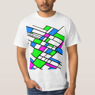 Haqrlequine abstract green pink blue T-Shirt