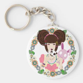 Harajuku Girl Yuriko - bordered Keychain