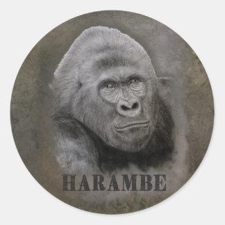 Harambe (Graphite Drawing) Classic Round Sticker