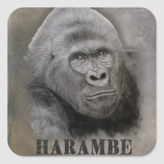 Harambe (Graphite Drawing) Square Sticker