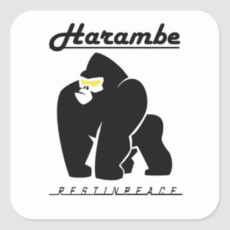 HARAMBE REST IN PEACE T-SHIRT SQUARE STICKER