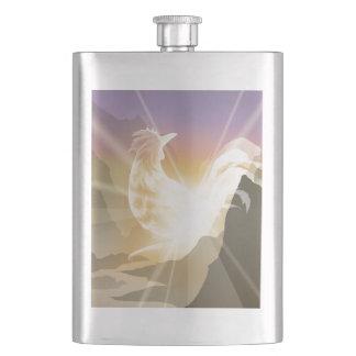 Harbinger of Light - Sunrise Rooster Hip Flask
