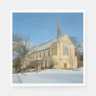 Harbison Chapel in Winter at Grove City College Paper Napkins