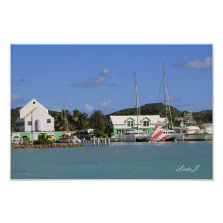 Harbor and Sailboats in Antigua Canvas Print