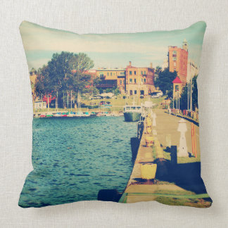 Harbor At Marquette Michigan Throw Pillow