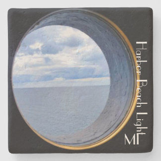 Harbor Beach Lighthouse with beautiful window MI Stone Coaster