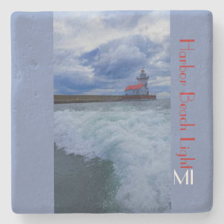 Harbor Beach Lighthouse with waves MI Stone Coaster