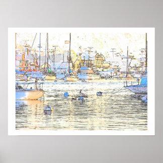 Harbor Dawn & Pelican Print