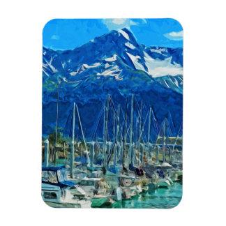 Harbor of Seward Alaska Abstract Impressionism Magnet