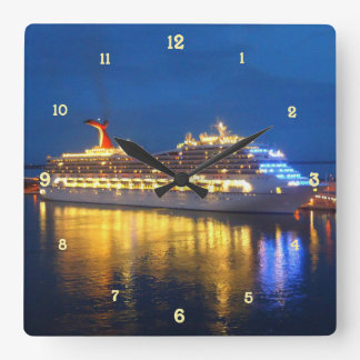 Harbor Reflections Square Wall Clock