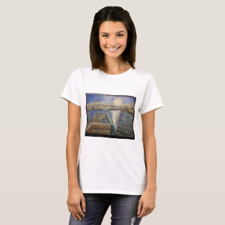 Harbor Sunset: Fine art, oil painting reproduction T-Shirt