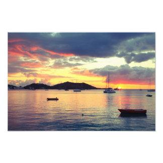Harbor Sunset in Grand Case, St. Martin Photo Print