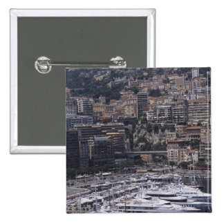 Harbor, vertical view, Monte Carlo, French 2 Inch Square Button