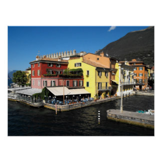 Harbour at Malcesine at Lake Garda in Italy Poster