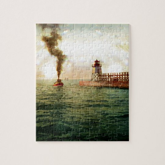 Harbour entrance, Charlevoix, Michigan circa 1900 Jigsaw Puzzle