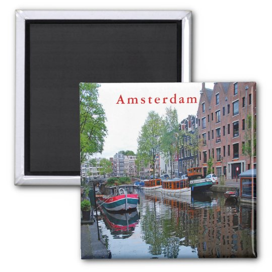 Harbour on the canal in Amsterdam. Magnet