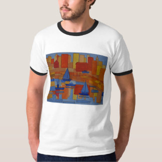 Harbour Painting bright colourful cubism T-Shirt