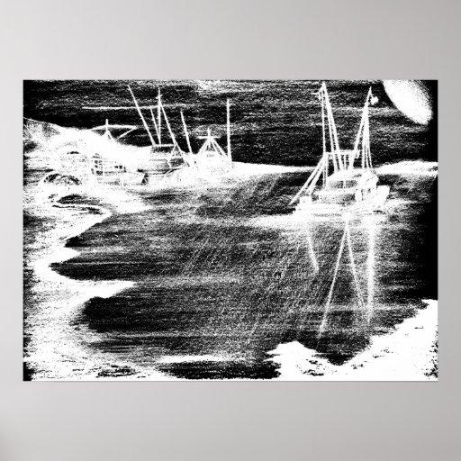 Harbour Silhouette Print