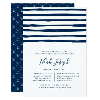 Harbour Stripe First Holy Communion Invitation
