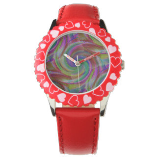 Hard candy color swirls reminds of holiday past wristwatches