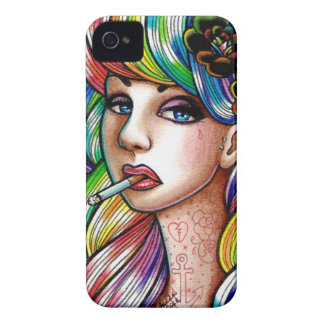 Hard Candy - Rainbow Pin Up Girl Portrait iPhone 4 Case-Mate Cases