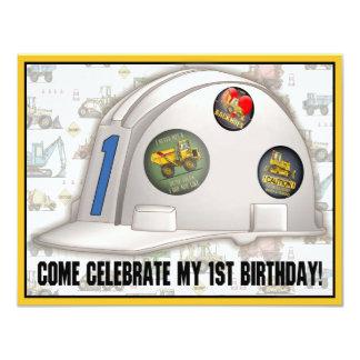 Hard Hat Construction 1st Birthday Party Invite