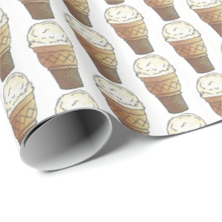 Hard Ice Cream Vanilla Scoop Cake Cone Dessert Wrapping Paper