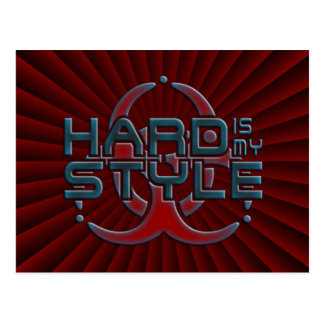 hard is my style - dark red radial | hardstyle postcard