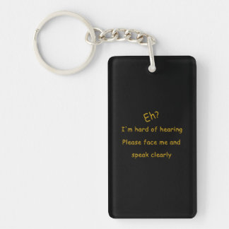Hard Of Hearing Double-Sided Rectangular Acrylic Keychain