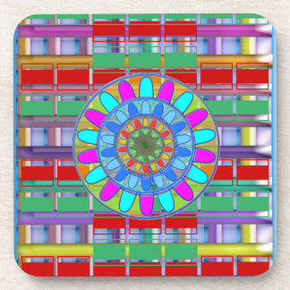 Hard Plastic coasters with cork back - set of 6