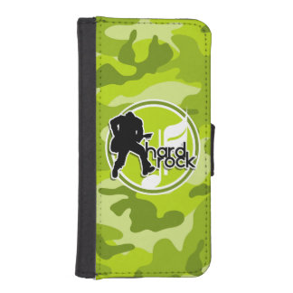 Hard Rock; bright green camo, camouflage Phone Wallets