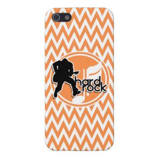 Hard Rock; Orange and White Chevron Case For iPhone 5/5S