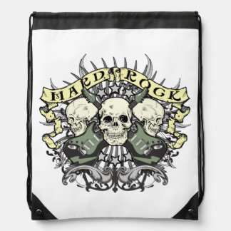 Hard Rock Skulls and Guitars Music Drawstring Bag