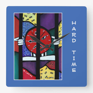 Hard Time On Blue  - Time Pieces Square Wall Clock
