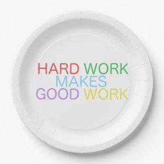 Hard Work Makes Good Work Paper Plate
