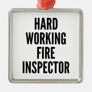 Hard Working Fire Inspector Metal Ornament
