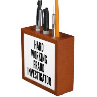 Hard Working Fraud Investigator Desk Organizer