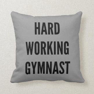 Hard Working Gymnast Throw Pillow